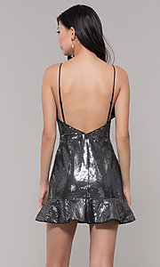 Image of metallic short sequin holiday dress with ruffled hem. Style: MT-9595 Back Image
