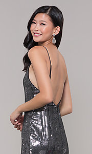 Image of metallic short sequin holiday dress with ruffled hem. Style: MT-9595 Detail Image 2