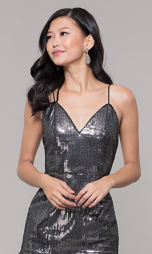 Image of metallic short sequin holiday dress with ruffled hem. Style: MT-9595 Detail Image 1