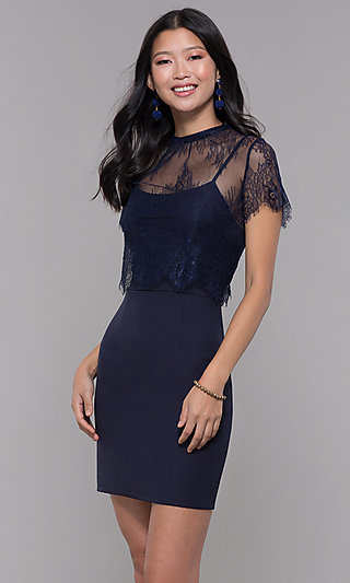 Short Wedding-Guest Party Dress with Lace Popover
