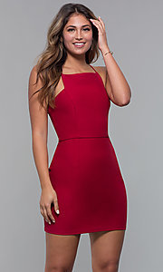 Image of red square-neck short cocktail party dress. Style: MT-9593 Front Image