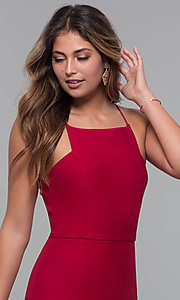 Image of red square-neck short cocktail party dress. Style: MT-9593 Detail Image 1