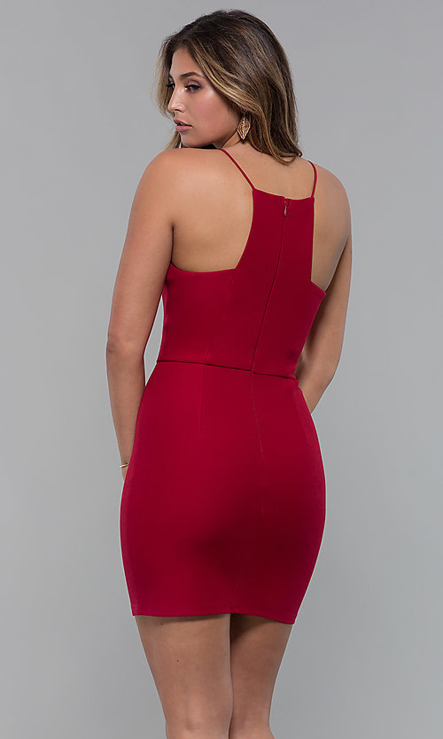 Image of red square-neck short cocktail party dress. Style: MT-9593 Back Image