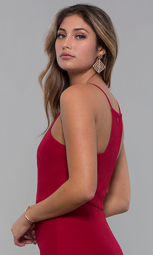 Image of red square-neck short cocktail party dress. Style: MT-9593 Detail Image 2