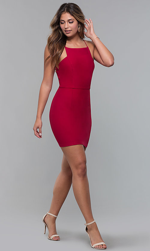 Image of red square-neck short cocktail party dress. Style: MT-9593 Detail Image 3