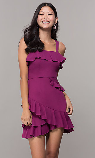 Short Wedding-Guest Party Dress with Ruffles