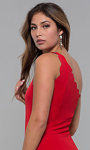 Image of one-shoulder short scallop-edged red party dress. Style: MT-9621 Detail Image 2
