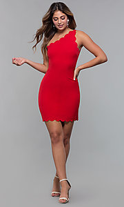 Image of one-shoulder short scallop-edged red party dress. Style: MT-9621 Detail Image 3