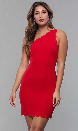 One-Shoulder Short Scallop-Edged Red Party Dress