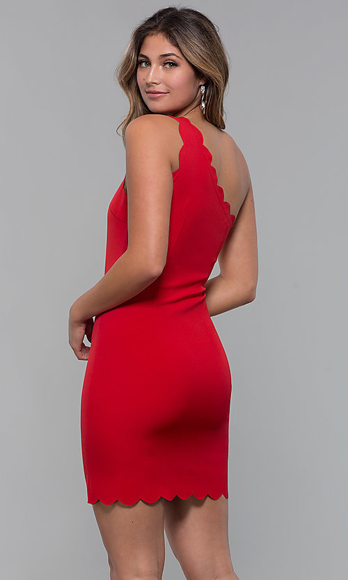 Image of one-shoulder short scallop-edged red party dress. Style: MT-9621 Back Image