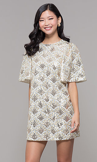 Short Gold Sequin Embroidered Holiday Shift Dress