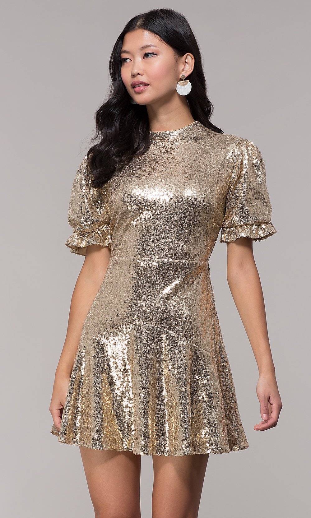 7993b7970e Gold Short Holiday Party Dress with Sleeves - PromGirl