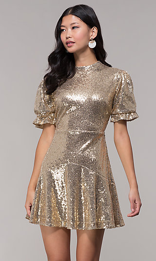 gold holiday party dress with short sleeves