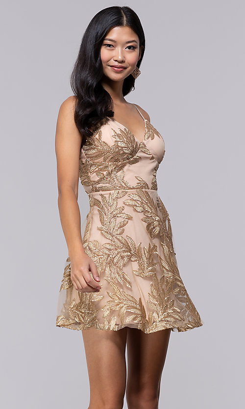561141f297 Image of gold embroidered skater-style holiday party dress. Style   JTM-JMD8942
