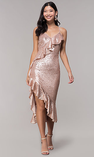 Ruffle-Trimmed Holiday V-Neck Sequin Party Dress