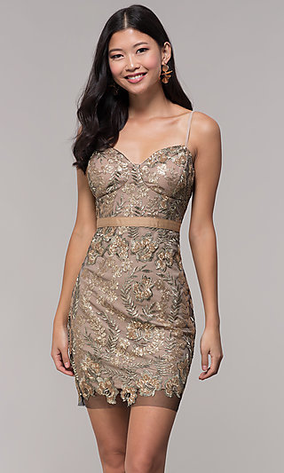 short gold embroidered mesh holiday party dress