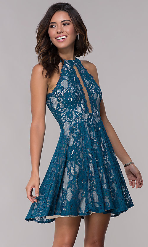 Image of racerback short high-neck lace party dress. Style: LP-25081 Front Image