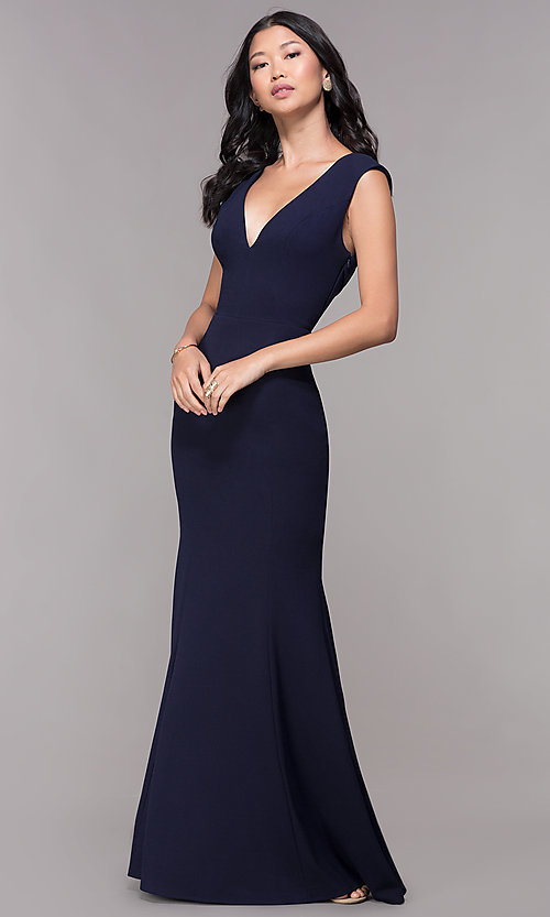Long V Neck Gathered Back Wedding Guest Dress