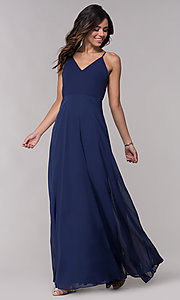 Image of long v-neck formal dress with tied back. Style: LP-25486 Front Image