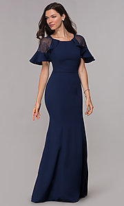 Image of long short-sleeve MOB formal evening dress. Style: LP-27589 Front Image