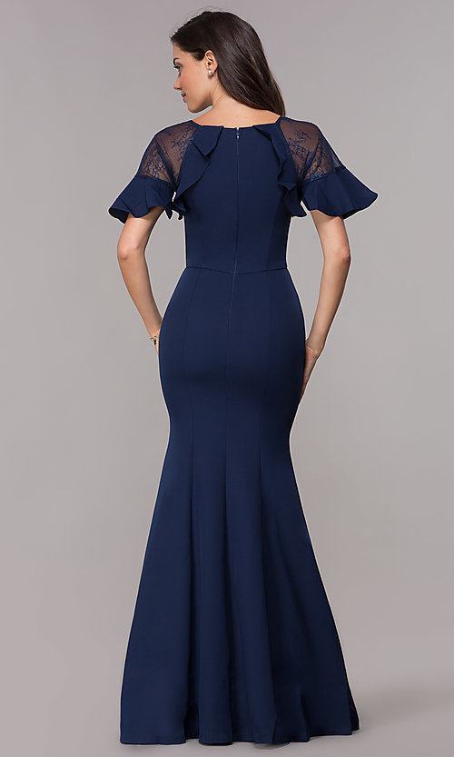 796ba574e587 Image of long short-sleeve MOB formal evening dress. Style: LP-27589