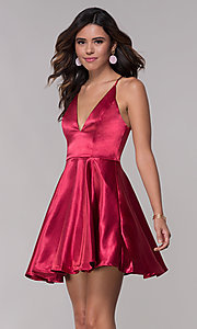 Image of short satin v-neck homecoming a-line dress. Style: LP-27730 Detail Image 1