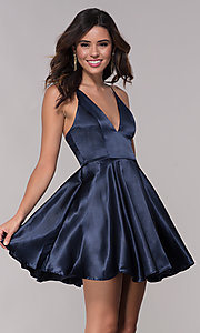 Image of short satin v-neck homecoming a-line dress. Style: LP-27730 Front Image