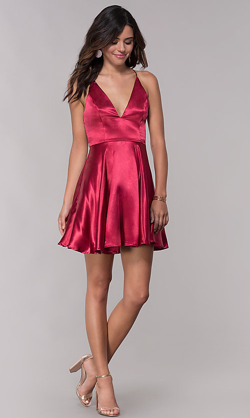 Image of short satin v-neck homecoming a-line dress. Style: LP-27730 Detail Image 3