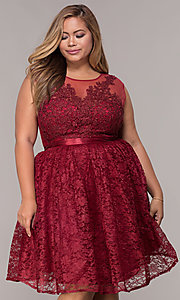 Image of a-line short lace plus-size party dress. Style: LP-24131P Front Image