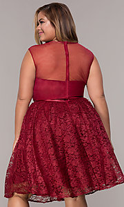 Image of a-line short lace plus-size party dress. Style: LP-24131P Back Image