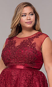 Image of a-line short lace plus-size party dress. Style: LP-24131P Detail Image 1