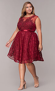 Image of a-line short lace plus-size party dress. Style: LP-24131P Detail Image 3