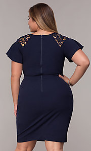 Image of plus-size short scoop-neck party dress with sleeves. Style: LP-25009P Back Image