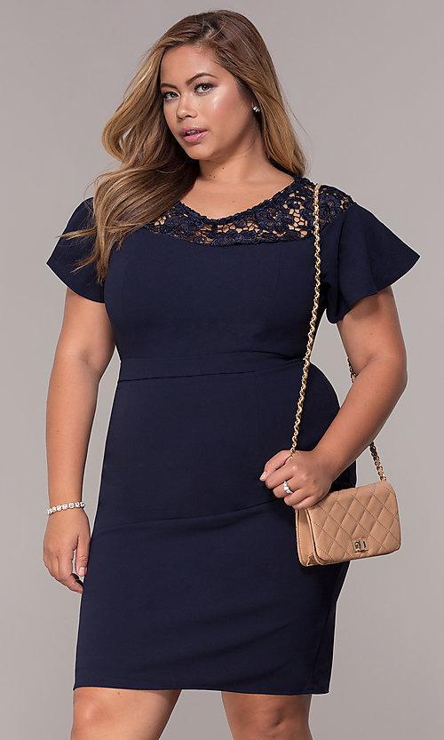 Image of plus-size short scoop-neck party dress with sleeves. Style: LP-25009P Front Image