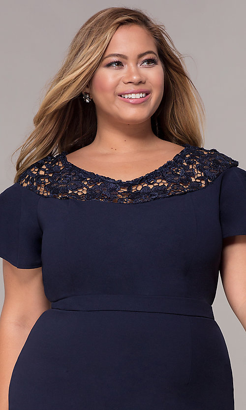 Image of plus-size short scoop-neck party dress with sleeves. Style: LP-25009P Detail Image 1