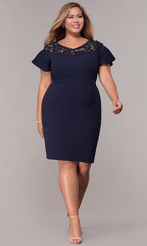 Image of plus-size short scoop-neck party dress with sleeves. Style: LP-25009P Detail Image 3