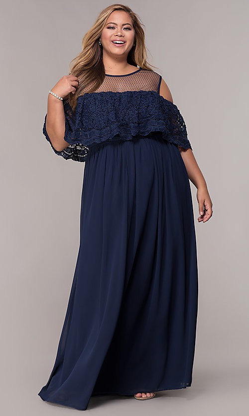 Image of long cold-shoulder plus-size formal dress. Style: LP-25505P Front Image