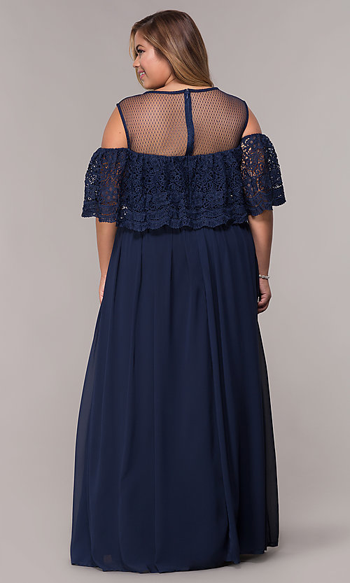 Image of long cold-shoulder plus-size formal dress. Style: LP-25505P Back Image
