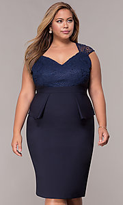 Image of MOB navy blue plus-size knee-length dress. Style: MCR-2078 Front Image