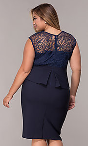 Image of MOB navy blue plus-size knee-length dress. Style: MCR-2078 Back Image