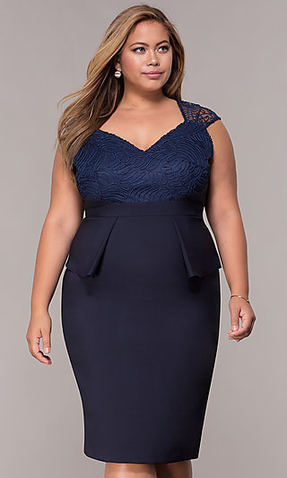 MOB Navy Blue Plus-Size Knee-Length Dress