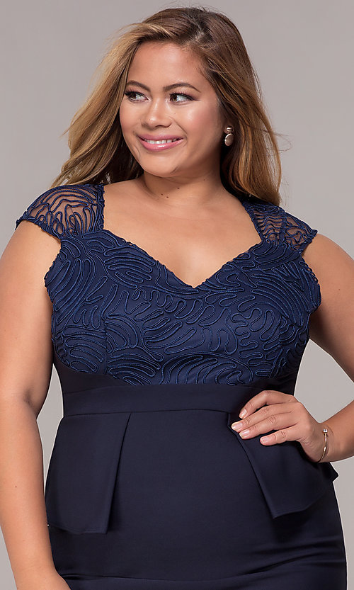 Image of MOB navy blue plus-size knee-length dress. Style: MCR-2078 Detail Image 1