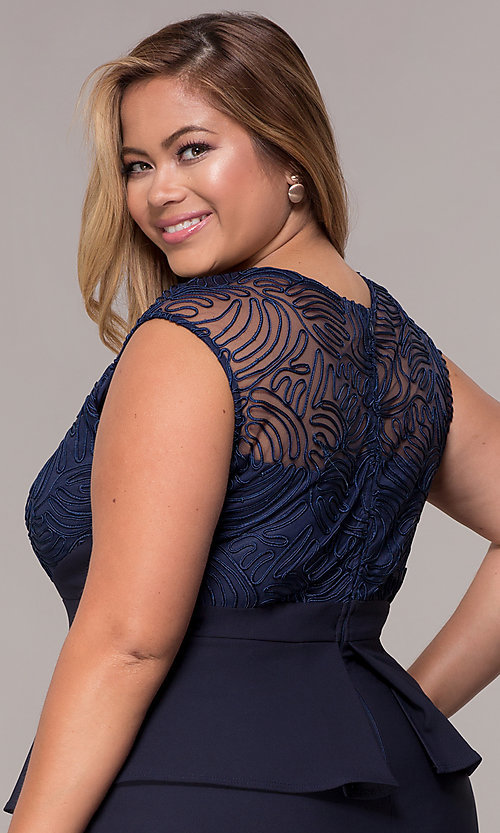 Image of MOB navy blue plus-size knee-length dress. Style: MCR-2078 Detail Image 2
