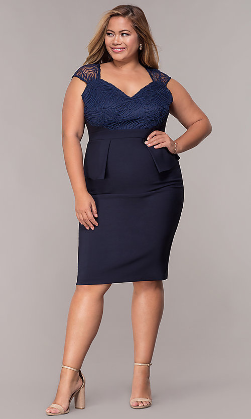 Image of MOB navy blue plus-size knee-length dress. Style: MCR-2078 Detail Image 3