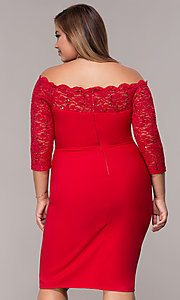 Image of 3/4-sleeve knee-length off-the-shoulder party dress. Style: MCR-2080 Back Image