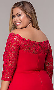 Image of 3/4-sleeve knee-length off-the-shoulder party dress. Style: MCR-2080 Detail Image 2