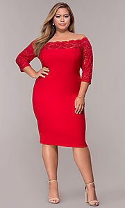 Image of 3/4-sleeve knee-length off-the-shoulder party dress. Style: MCR-2080 Detail Image 3