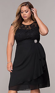 Image of knee-length plus-size mother-of-the-bride dress. Style: MCR-2212 Detail Image 1