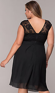 Image of knee-length plus-size mother-of-the-bride dress. Style: MCR-2212 Detail Image 2