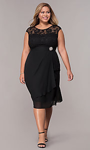 Image of knee-length plus-size mother-of-the-bride dress. Style: MCR-2212 Detail Image 3
